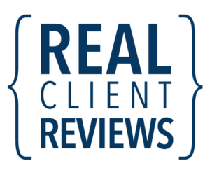 """Graphic that says """"real client reviews"""""""